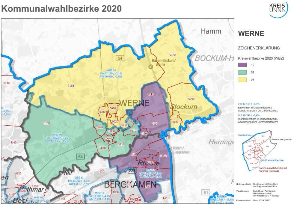Übersicht über die Wahlbezirke in Werne. Grafik: Kreis Unna