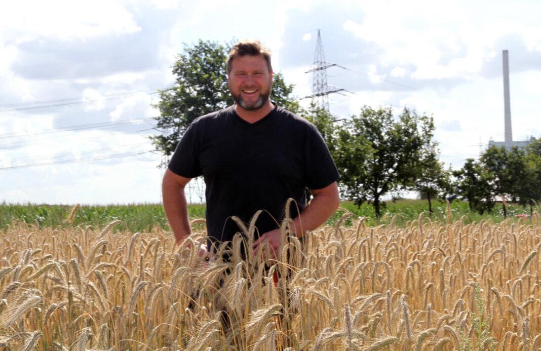 Robert Schulze-Kalthoff - hier in seinem Roggenfeld an der Mühlenstraße in Stockum - ist mit der Ernte zufrieden. Foto: Timo Wagner