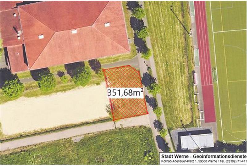 Das Sportamt präsentierte im Ausschuss Pläne für einen Outdoor-Sportpark im Lindert, unmittelbar am Beachvolleyballfeld angrenzend. Plan: Stadt Werne