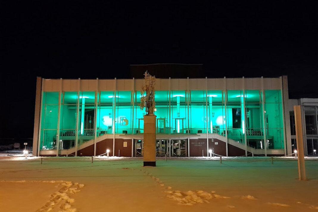 Auch das Heinz-Hilpert-Theater in Lünen wurde grün angeleuchtet. Foto: Volker Hoffmann