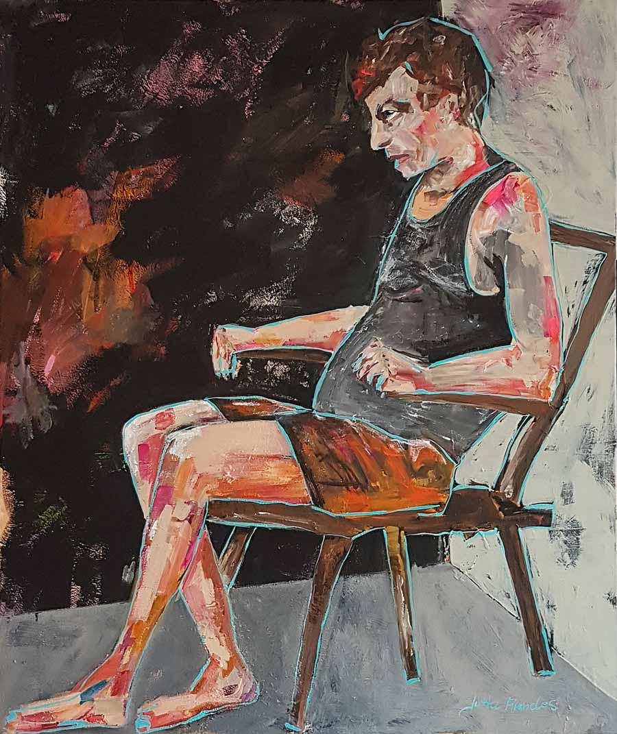 """Das expressive Bild """"Erstarrung"""" von Jutta Arendes zeigt einen Mann auf einem Stuhl in einer starren Körperhaltung. Die Künstlerin will die Erstarrung als Reaktion eines Menschen auf die Pandemie zeigen. Die Arbeit entstand im """"Lockdown"""" in der zweiten Jahreshälfte 2020. Bild: Jutta Arendes"""