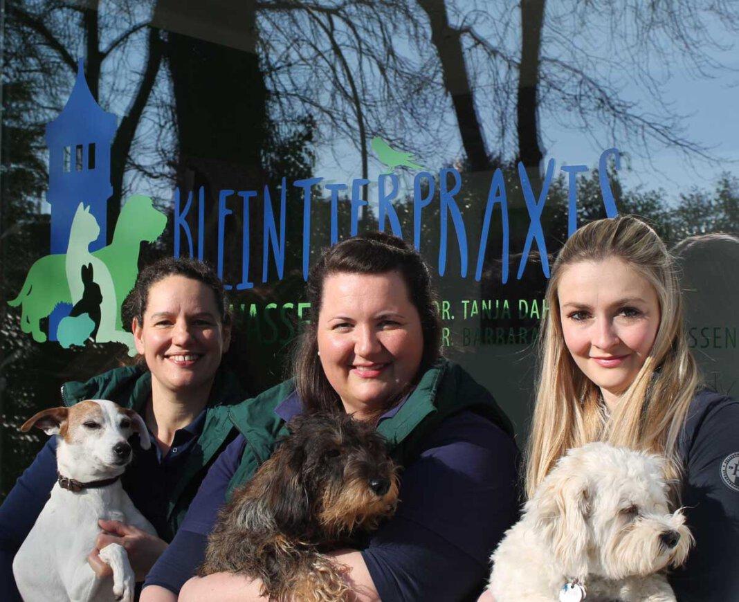 Dr. Tanja Dahlkamp (von links), Dr. Barbara Janssen und Lisa Stolpmann von der Kleintierarztpraxis in Cappenberg. Foto: Privat