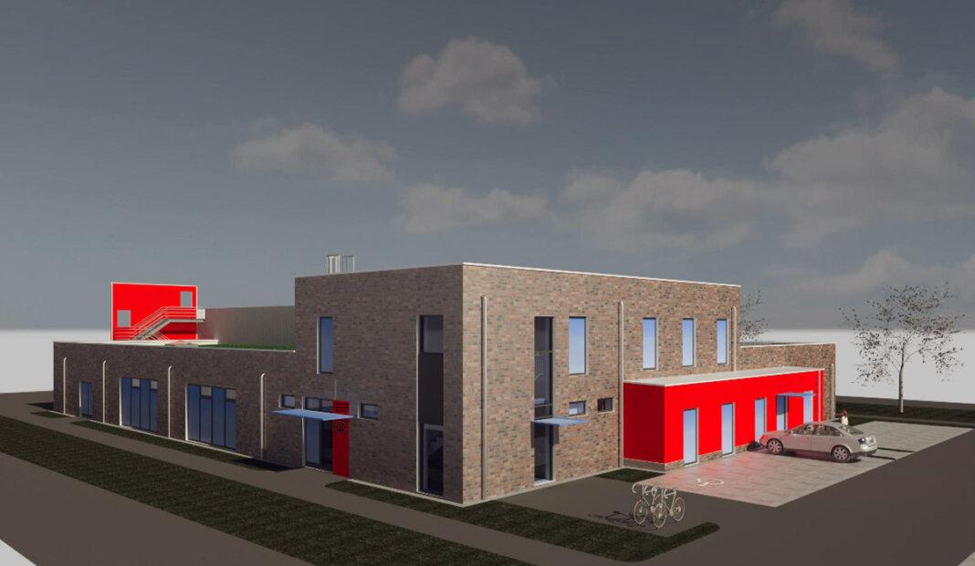 Die Nordwest-Ansicht des geplanten neuen Feuerwehrgerätehauses in Stockum. Visualisierung: ulrich+bahr architekten gmbh