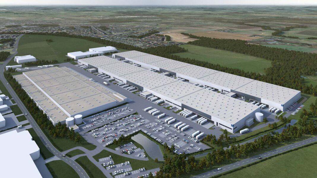 Eine von zwei Logistikhallen, die derzeit auf dem früheren IKEA-Logistikareal entstehen, sind komplett an das auf den Im- und Export sowie den Verkauf von Konsumgütern spezialisierten Unternehmen Euziel vergeben. Visualisierung: Garbe Industrial Real Estate