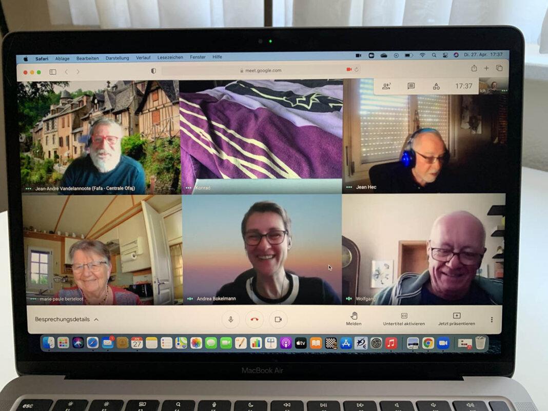 Beim virtuellen Treffen der Partnerstädte waren Vertreter der französischen Partnerstadt Bailleul, der ostdeutschen Partnerstadt Kyritz und Vertreter aus Werne dabei. Foto: Viefhues