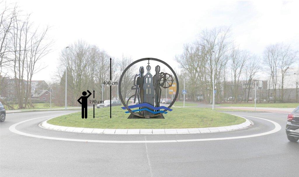 Auf dieser Visualisierung ist die geplante Skulptur auf dem bereits bestehenden Kreisverkehr abgebildet. (c) Stadt Werne