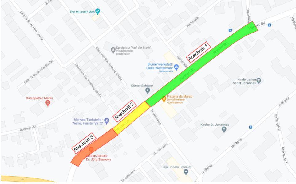 Die Arbeiten im grünen Abschnitt sind bereits abgeschlossen. Aktuell wird im gelben Abschnitt gearbeitet, dann folgt der rote. Alle Arbeiten auf der Horster Straße sollen bis Ende August abgeschlossen sein, danach beginnen die Arbeiten im angrenzenden Wohngebiet. Grafik: Westnetz