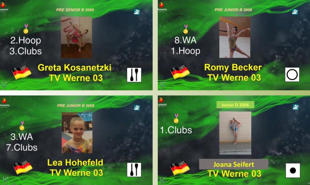 Das Bild zeigt einen Teil der Turnerinnen aus Werne beim virtuellen Wettkampf. Foto: RSG Werne
