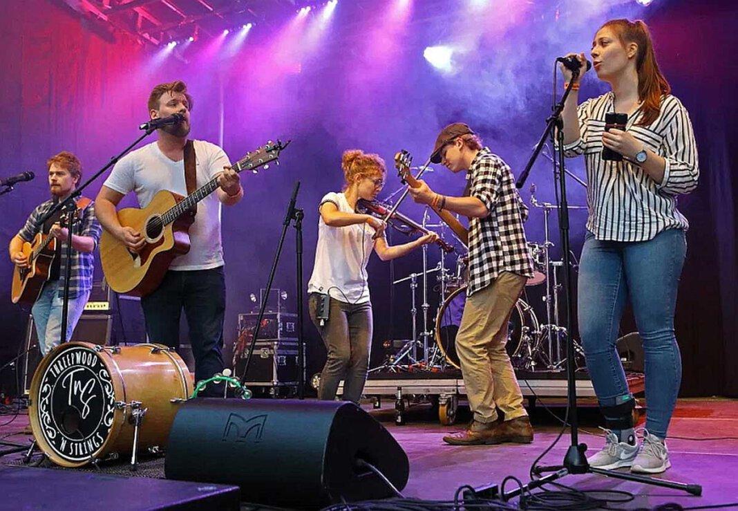 Threepwood 'N Strings aus Marl stehen für mitreißenden Indie Folk, der auch Pop, Country und Balkan Beats aufnimmt. Sie sind am 6. August im FlözK zu Gast. Foto: Alexandra Stender