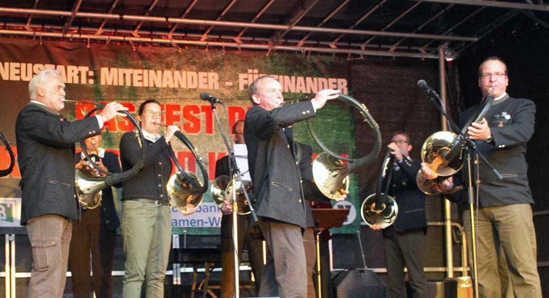 Die Parforcehornbläser Drensteinfurt traten am Freitagabend in Werne auf. Foto: Isabel Schütte