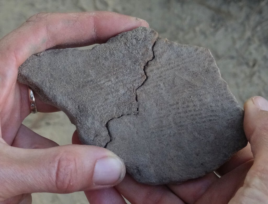 Die älteste geborgene Keramik weist eine für die vorrömische Eisenzeit charakteristische Verzierung auf der Außenseite auf, das sogenannte Kammstrichmuster. Foto: M. Baales/LWL