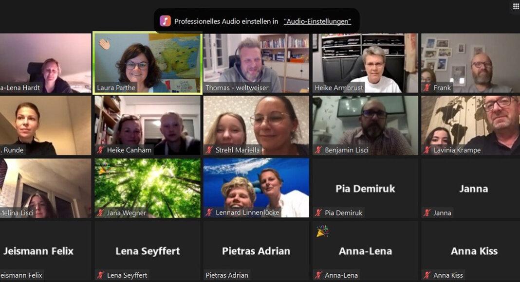Groß war das Interesse an der virtuellen Info-Veranstaltung zum Auslandsschuljahr. Screenshot: Laura Parthe
