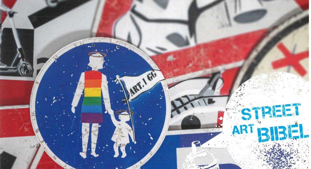 Der Streetart-Künstler Mika Springwald hat die neue Jugendbibel des Herder-Verlags mit Straßenschildern in Streetartkunst gestaltet. Foto: FBS
