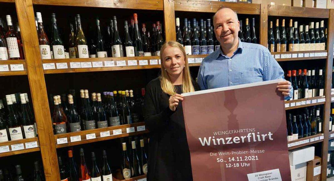 """Pauline Schulte und Frank Bispinghoff freuen sich auf Weingefährtens """"Winzerflirt"""" am 14. November 2021 in Werne. Foto: Wagner"""